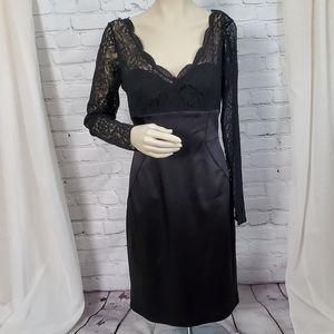 SALE   MAGGY LONDON BLACK LACE & SATIN DRESS
